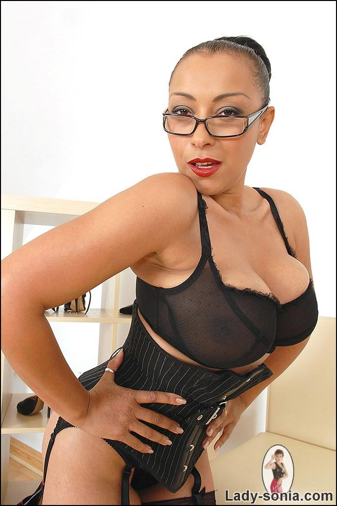 Mid aged Danica Collins looks very attractive in black lingerie