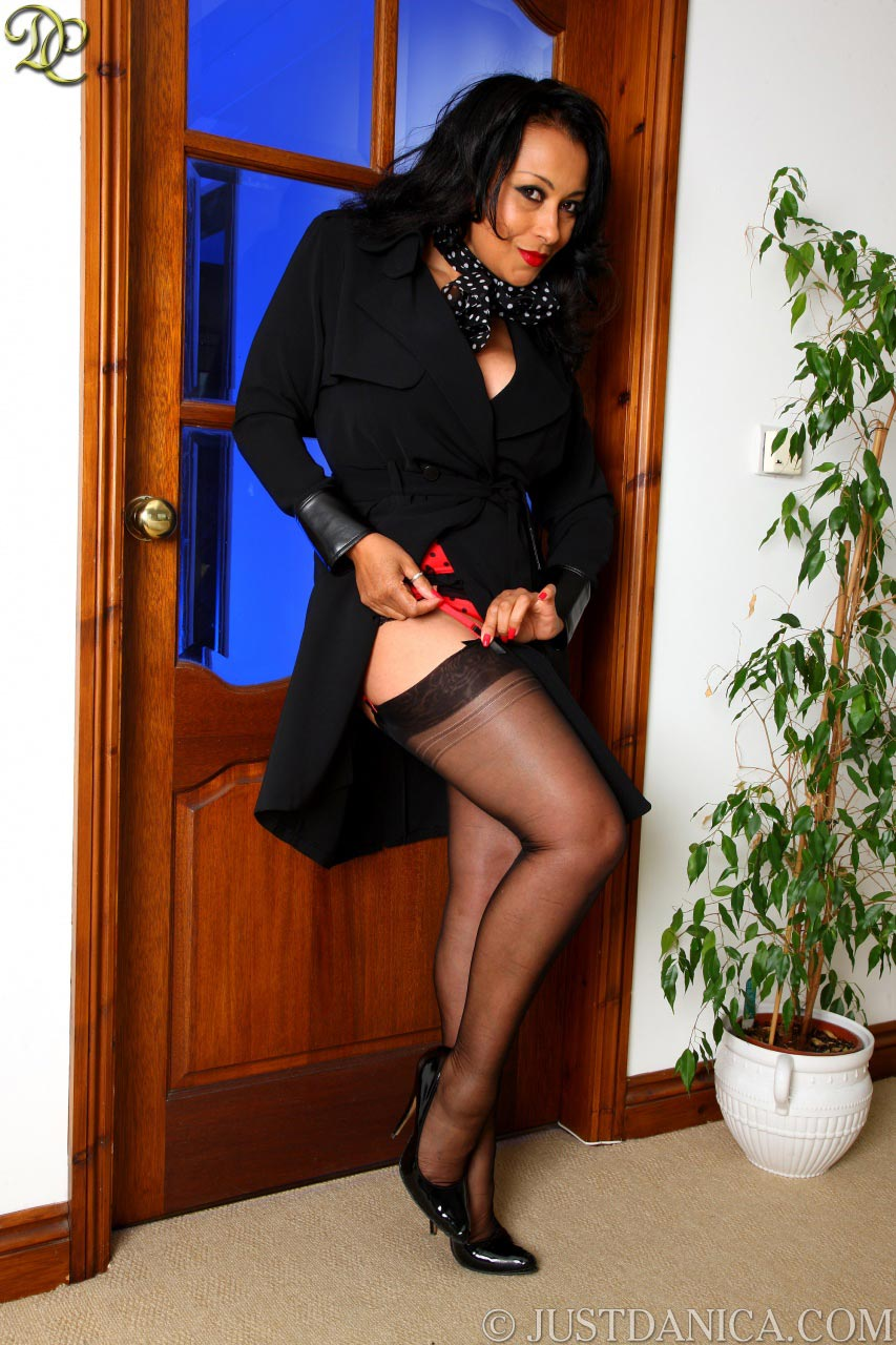 Black stockings are always look good on hot mature female legs