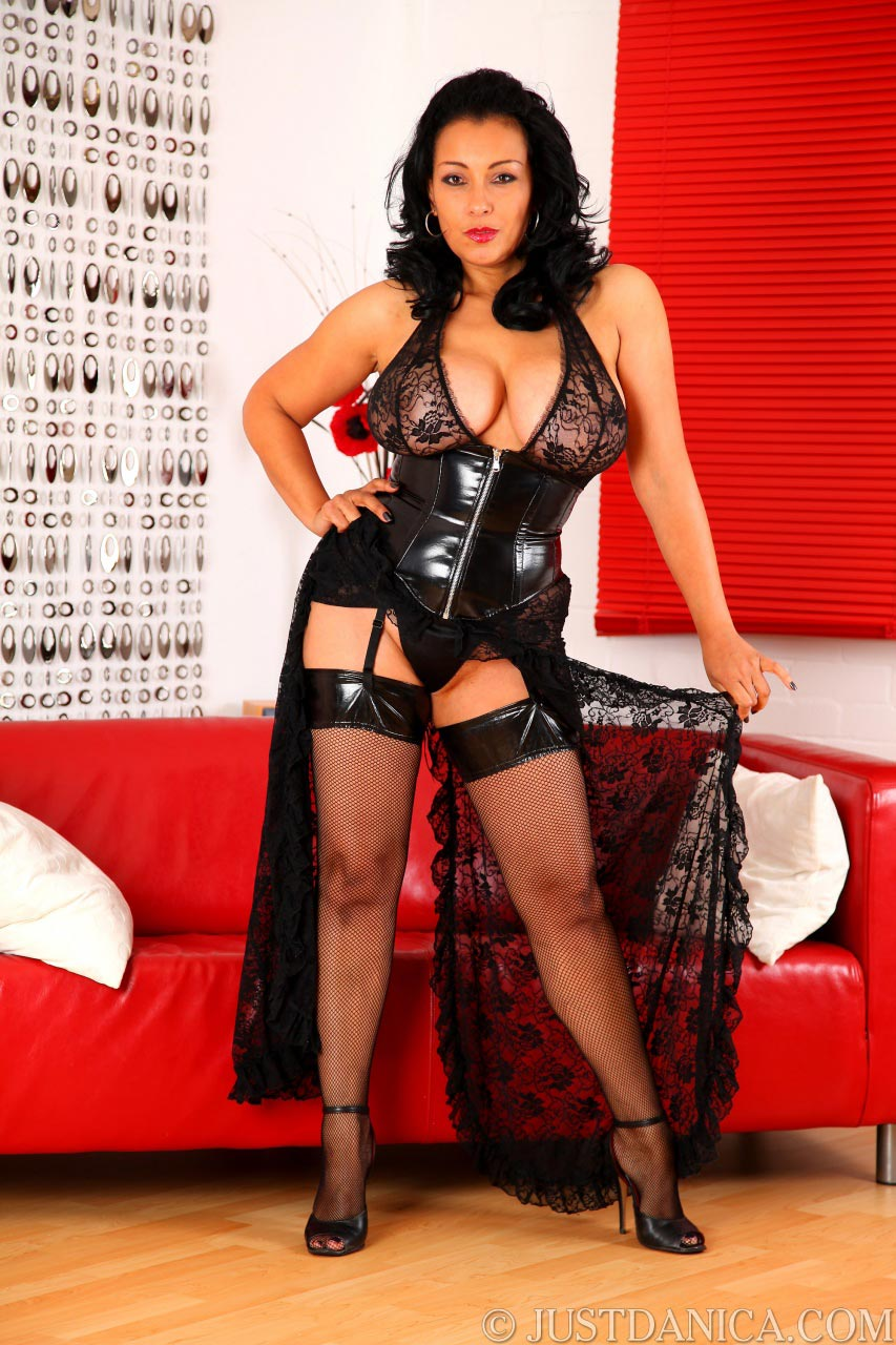 Danica Collins looks astonashingly sexy in black mistress outfit