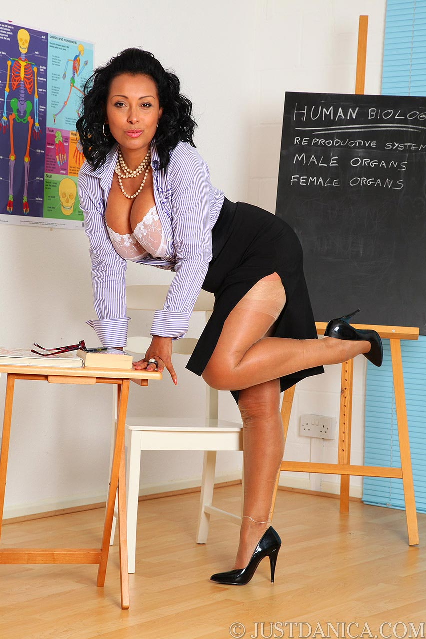 Teacher Danica Collins is acting naughty during the biology class