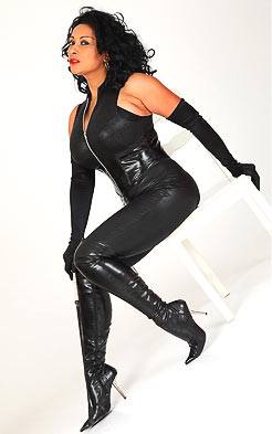 Leather costume and high heel boots fo Danica Collins