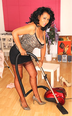 Sexy outfit is not suitable for vacuuming